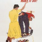 US poster, WWII, urging mending clothes.