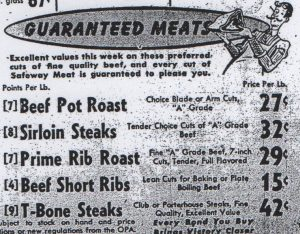 Meat ad from Safeway in the Antioch Ledger, 1943