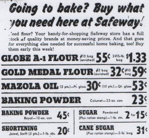 Safeway ad from the Antioch Ledger, 1943