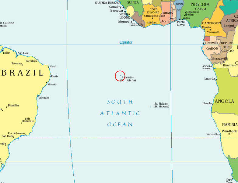 Map showing the location of Ascension Island (public domain via Wikipedia)
