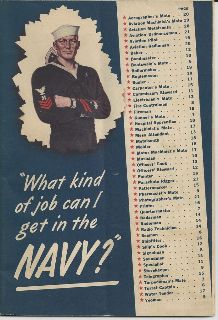 Brochure about ratings in the US Navy, WWII
