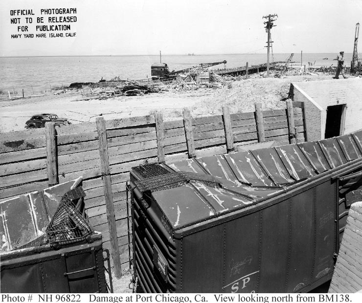 Damage to rail cars at US Naval Magazine, Port Chicago from 17 July 1944 explosion (US Naval History and Heritage Command)