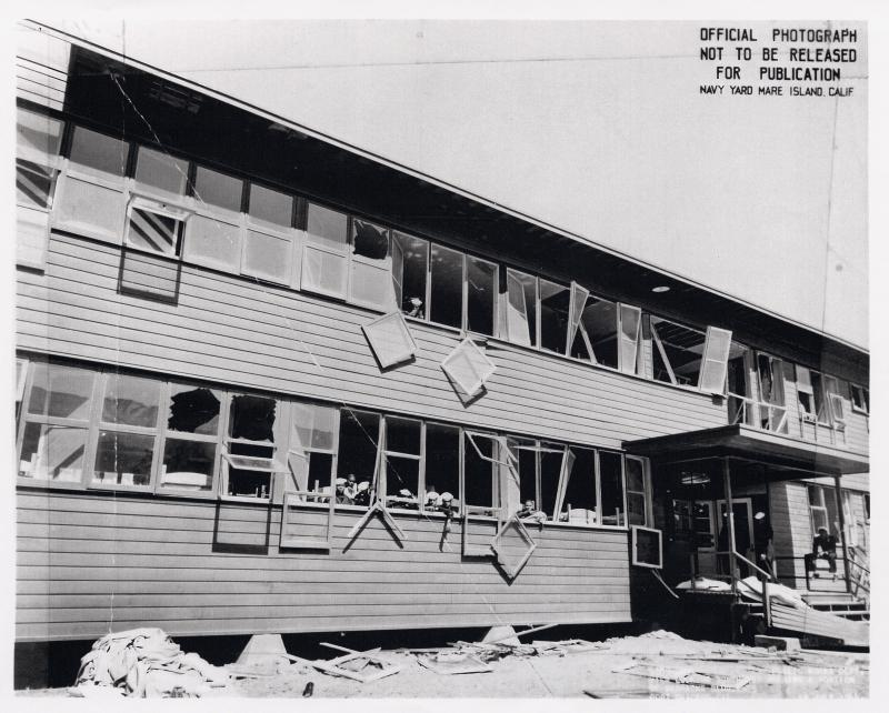 Damage to barracks at US Naval Magazine, Port Chicago from 17 July 1944 explosion (US Naval History and Heritage Command)