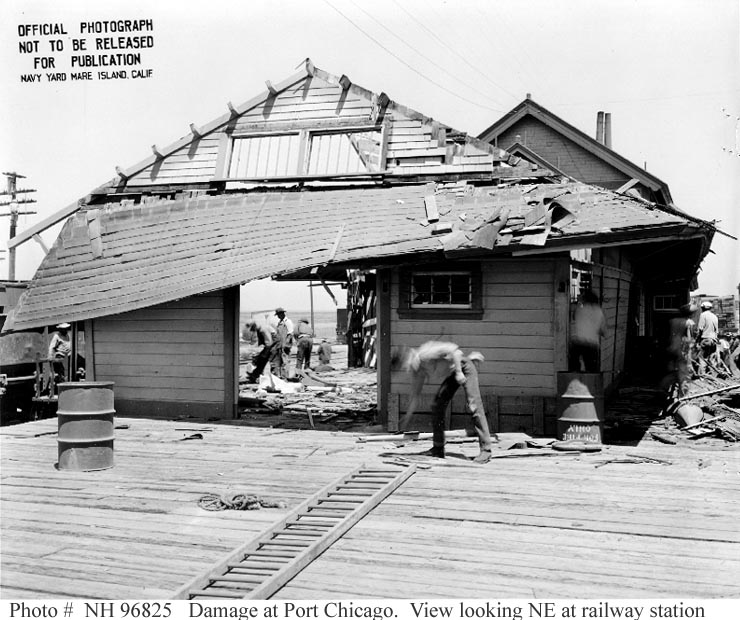 Damage to depot at US Naval Magazine, Port Chicago from 17 July 1944 explosion (US Naval History and Heritage Command)