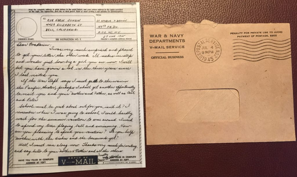 "A V-Mail received in California during World War II. Note smaller size in relation to envelope. Read more: ""Victory Mail in World War II"" on Sarah Sundin's blog"