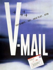 """US poster encouraging use of V-Mail, World War II. Read more: """"Victory Mail in World War II"""" on Sarah Sundin's blog"""