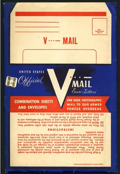 "V-Mail packet, World War II. Read more: ""Victory Mail in World War II"" on Sarah Sundin's blog."