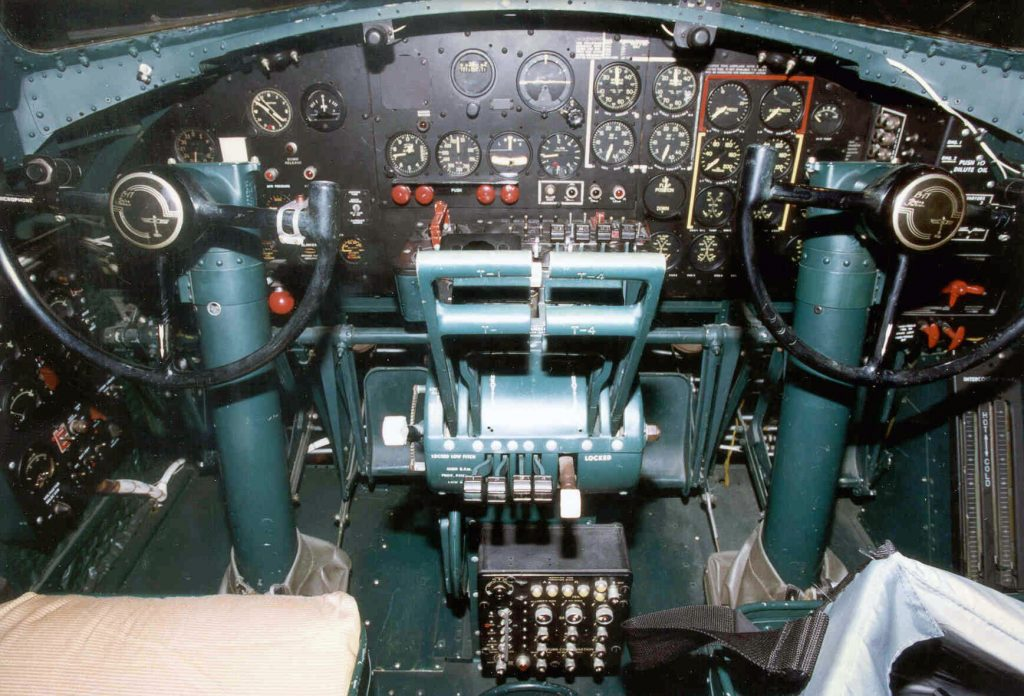 Boeing B-17G Flying Fortress cockpit at the National Museum of the U.S. Air Force. (U.S. Air Force photo)