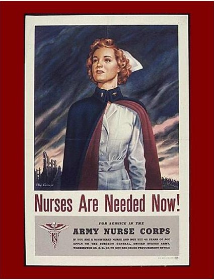 US Army Nurse Corps recruiting poster, WWII, showing the white ward dress, and the blue-and-maroon cape.