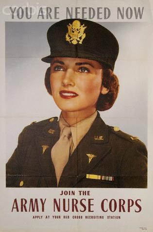 US Army Nurse Corps recruiting poster, showing the olive drab dress uniform worn starting in 1943