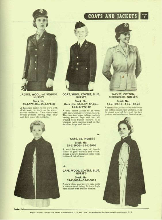 US Army Quartermaster supply catalog QM 3-2, 7 October 1943, showing the olive drab and blue dress uniforms, the seersucker jacket, and the cape of the Army Nurse Corps (Source: US Army Service Forces)