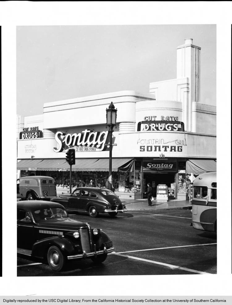Sontag Cut Rate Drug Store at 5401 Wilshire Boulevard at the corner of Wilshire and Cloverdale, Los Angeles, CA, 1941 (California Historical Society via USC Digital Library)