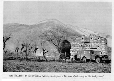 US Army forward aid station in Sant'Elia, Italy, 1943 (US Army Medical Dept)