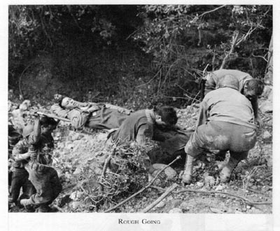 Litter-bearers in Italy's mountains, WWII (US Army Medical Dept.)