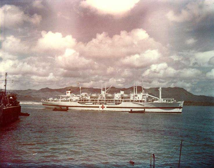 Hospital ship USS Tranquillity arriving at Guam with survivors of sinking of USS Indianapolis, 8 Aug 1945. (US National Archives)