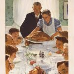 """US poster featuring Norman Rockwell's """"Freedom from Want,"""" 1943"""