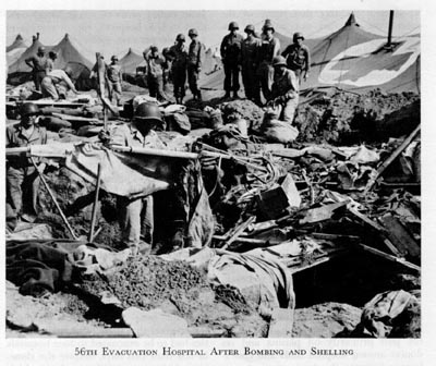 US 56th Evacuation Hospital after an air raid, 1944 (US Army Medical Department)
