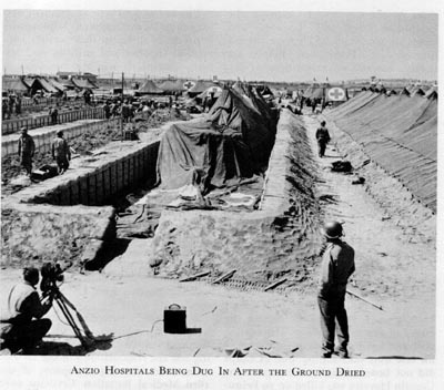 US hospital digging in at Anzio, spring 1944 (US Army Medical Department)