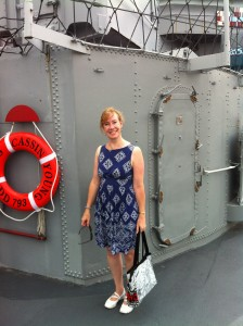 Sarah Sundin by a platform for a 5-inch gun mount on board destroyer USS Cassin Young, Charlestown Navy Yard, Boston, MA (Photo: Sarah Sundin, July 2014)