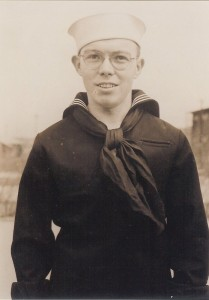 My grandfather, Frederick Stewart, at the Great Lakes Naval Training Center, April 1944.