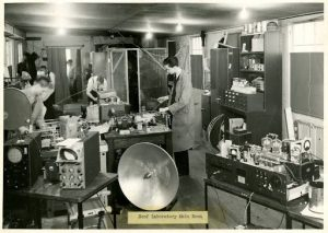 The main room of the Rad Lab's Roof Laboratory, located on the campus of the Massachusetts Institute of Technology (MIT), WWII (US National Archives)