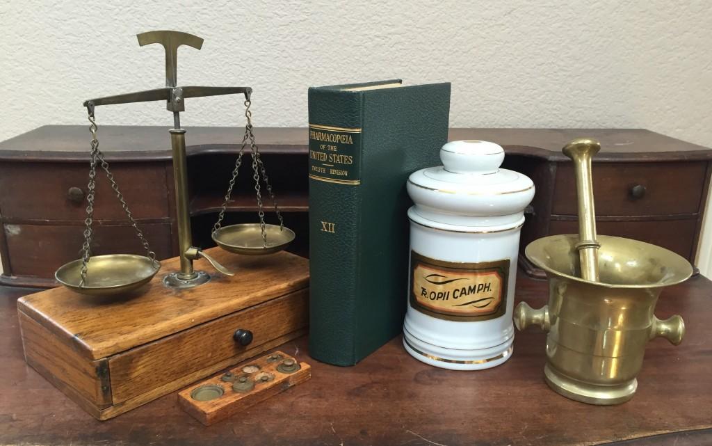 Pharmacy memorabilia, including 1942 edition of the United States Pharmacopoeia (Sarah Sundin collection)