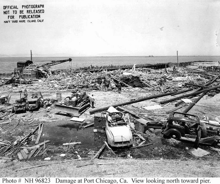 Damage from the explosion at the Naval Magazine, Port Chicago CA. (US Naval Historical Center photo).