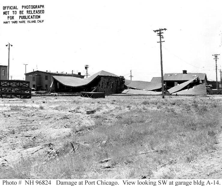 Damage to building A-14 at the US Naval Magazine, Port Chicago, 17 July 1944 (US Naval History and Heritage Command)