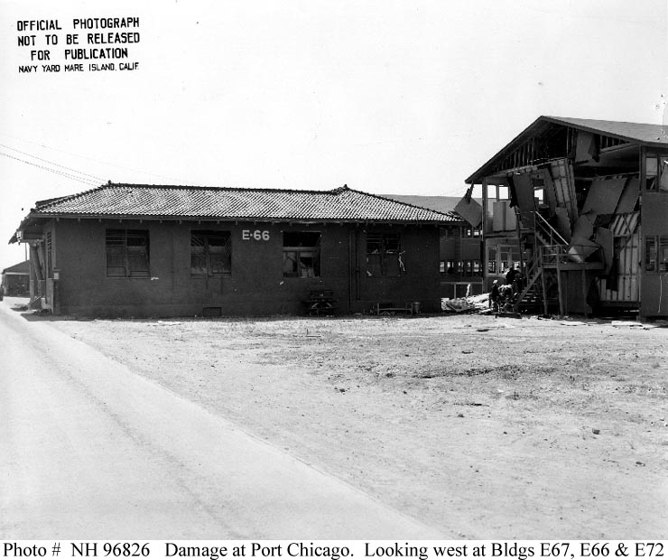 Buildings damaged by the explosion at the US Naval Magazine, Port Chicago on 17 July 1944 (US Naval History and Heritage Command)