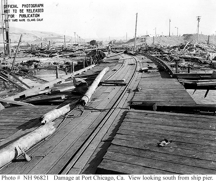 Damage on docks at US Naval Magazine, Port Chicago from 17 July 1944 explosion (US Naval History and Heritage Command)