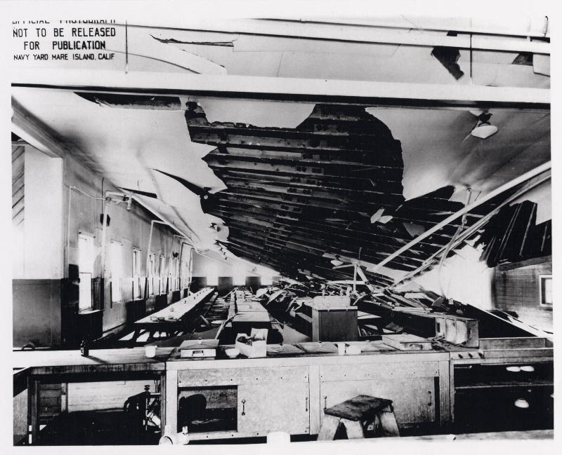 Damage at mess hall at US Naval Magazine, Port Chicago from 17 July 1944 explosion (US Naval History and Heritage Command)