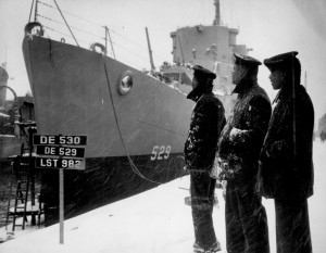 Crew of destroyer escort USS Mason, the first US warship with a predominately black enlisted crew; Boston Navy Yard, 30 March 1944 (US Naval History and Heritage Command)