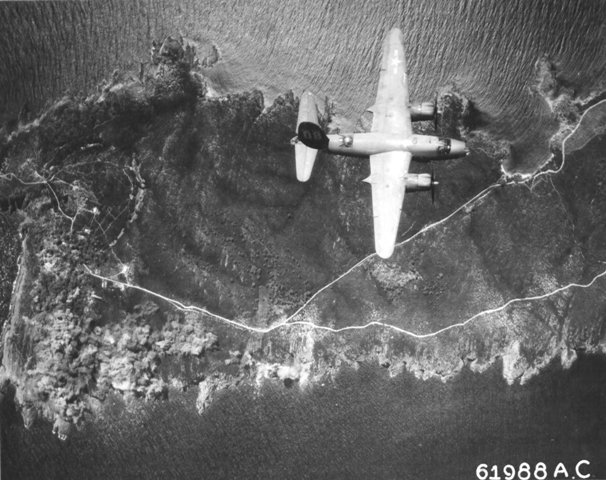 B-26B Marauder of the 441st Bomb Squadron (US Twelfth Air Force) over Île du Levant, France south of St. Tropez on raid to bomb gun installations, 4 Aug 1944 (US National Archives)