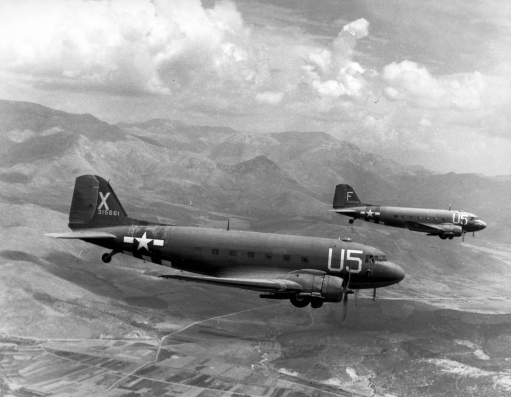 C-47 Skytrains of the US 81st Troop Carrier Squadron loaded with paratroopers on their way for the invasion of southern France, 15 Aug 1944 (US National Archives)