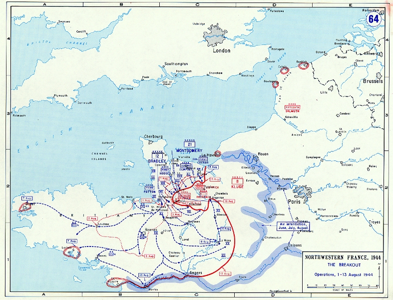 Map depicting the Allied breakout in Normandy, France, 1-13 Aug 1944 (US Military Academy)