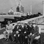 Gov. Gen. of Canada Alexander Cambridge, Franklin Roosevelt, Winston Churchill, and Canadian Prime Minister Mackenzie King at the Octagon Conference in Quebec, 12 September 1944 (Library and Archives, Canada)