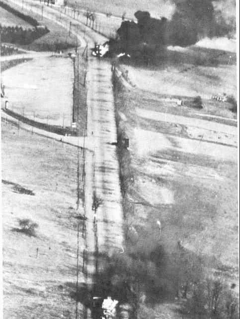 US fighters strafing German motor transport in France, 1944 (US Army Air Force photo)