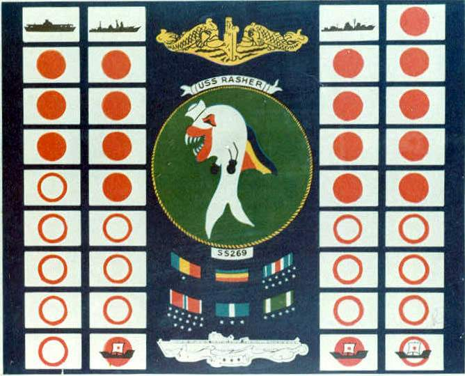 Battle flag of submarine USS Rasher, WWII (US Navy photo)