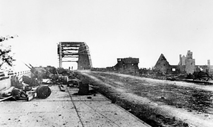 Bridge at Arnhem, the Netherlands after the British paratroopers had been driven back, 17-25 Sept 1944 (Imperial War Museum 5404-02 HU 2127)
