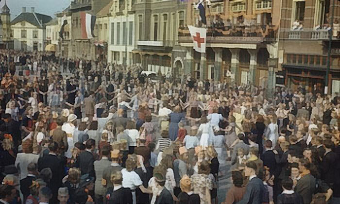 People of Eindhoven, the Netherlands, dance in the town square after liberation, 20 Sept 1944 (Imperial War Museum 4905-03 TR 2369)