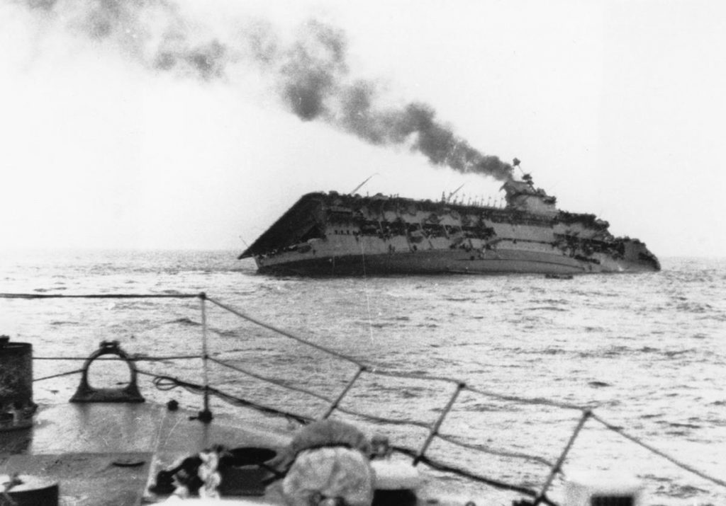 Sinking of HMS Courageous, 17 September 1939 (public domain via WW2 Database)