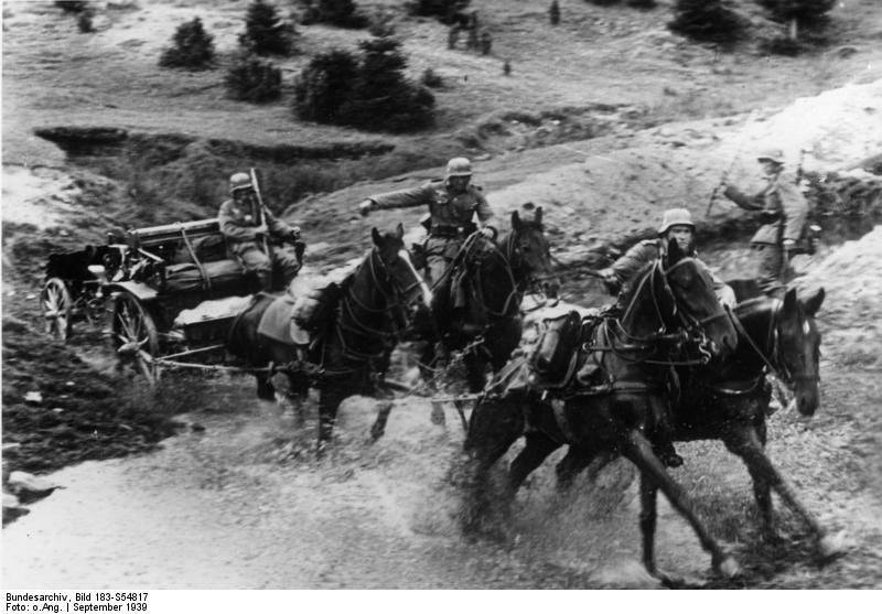 German Army horses towing an infantry gun, Poland, September 1939 (German Federal Archive, Bild 183-S54817)