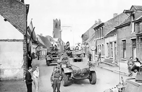 Canadian armored cars in Putte, during the Anglo-Canadian drive in the Scheldt Estuary, 11 Oct 1944 (Imperial War Museum: 4700-05 HU 69103)