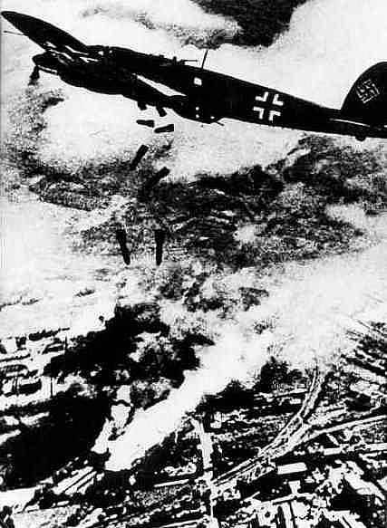 German Heinkel He 111 bomber over Warsaw, September 1939 (public domain via WW2 Database)