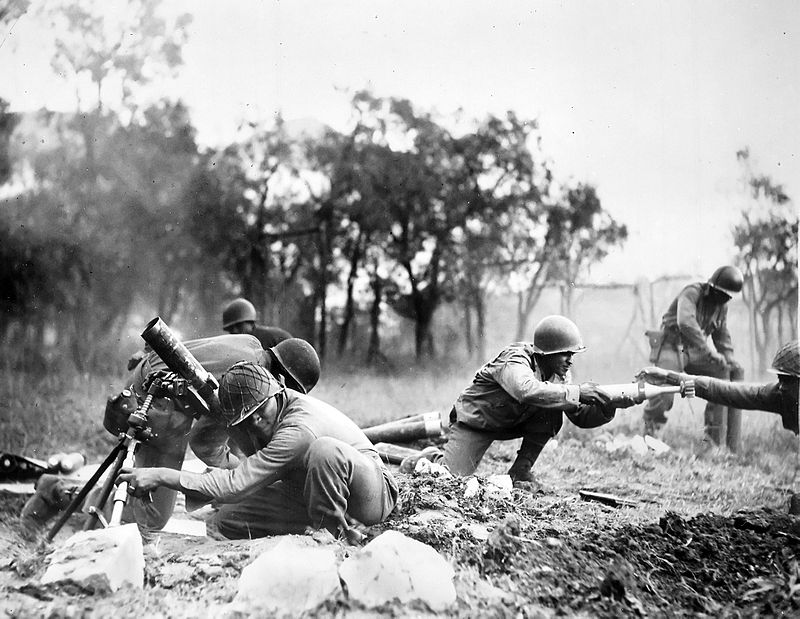 Troops of the US 92nd Infantry Division firing mortars, Massa, Italy, November 1944 (US National Archives)