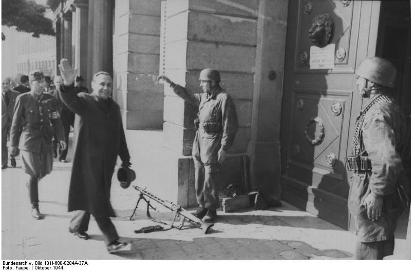 Ferenc Szálasi at Sándor Palace, Budapest, Hungary, 16-18 Oct 1944 (German Federal Archives: Bild 101I-680-8284A-37A/Faupel)