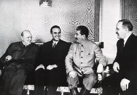Winston Churchill, W. Averell Harriman, Joseph Stalin, and Vyacheslav Molotov at Fourth Moscow Conference, Russia, Oct 1944 (Library of Congress)