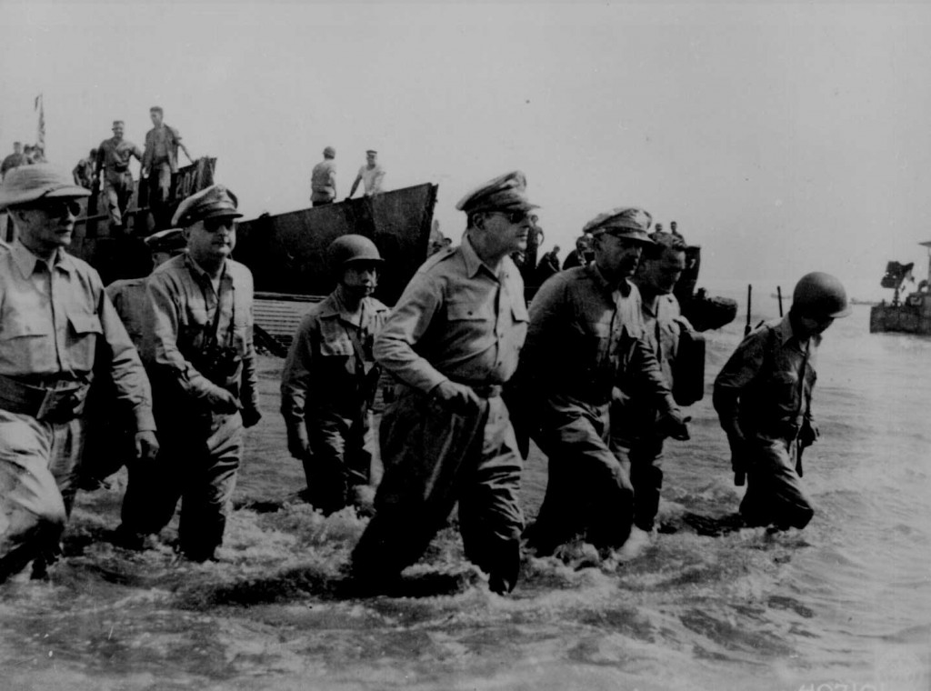 Gen. Douglas MacArthur wading ashore at Leyte, Philippine Islands, 20 October 1944 (US National Archives: 111-SC-407101)