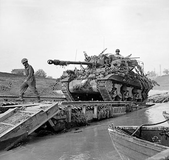 British Achilles tank destroyer crossing the River Savio, Italy, 24 October 1944 (Imperial War Museum)