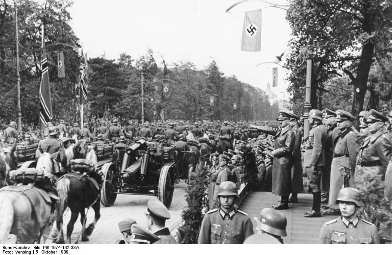 Adolf Hitler at a German military parade in Warsaw, Poland, 5 Oct 1939 (German Federal Archive: Bild 146-1974-132-33A/ Mensing)